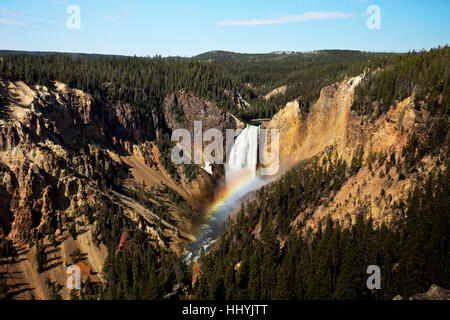 WYOMING - Rainbow below the Lower Falls in the Grand Canyon of the Yellowstone from Lookout Point in Yellowstone - Stock Photo