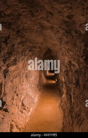 The entrance, blasted from limestone, to Lehman Caves in Great Basin National Park, Nevada, USA - Stock Photo