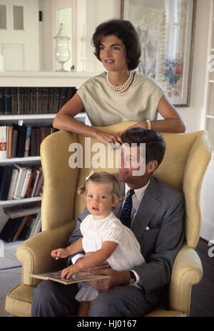 John F. Kennedy with Jacqueline and Caroline, at Hyannis Port, August 1959. - Stock Photo