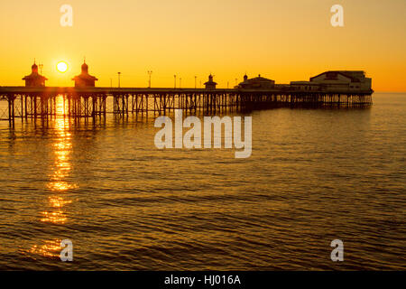 High Tide at Blackpool's North Pier, a Victorian structure and landmark, at sunset  Lancashire, UK - Stock Photo
