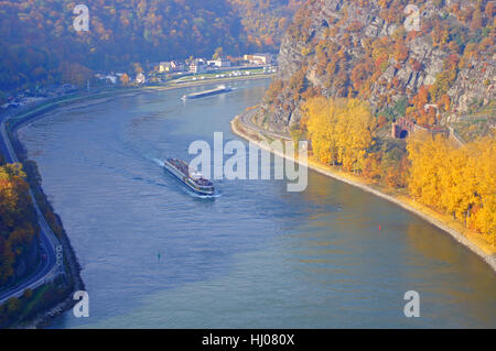 aerial perspective, houses, tree, trees, upstairs, navy, rhine, coloured, - Stock Photo