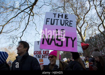 London, UK. 21st January, 2017. Women's March on London to coincide with the first day of Donald Trump's Presidency - Stock Photo