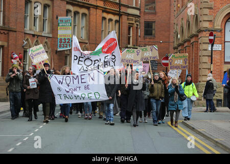 Manchester, UK. 21st January, 2017. The Peoples Assembly lead an anti Trump march through the city center, Albert - Stock Photo