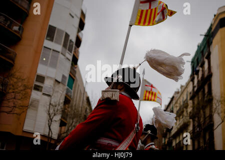 Barcelona, Catalonia, Spain. 21st Jan, 2017. Members of the Barcelona municipal police (Guardia Urbana) march by - Stock Photo