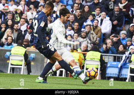 Madrid, Madrid, Spain. 21st Jan, 2017. Isco (midfielder; Real Madrid) in action during La Liga match between Real - Stock Photo