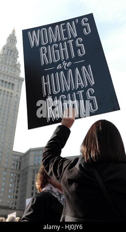 Cleveland, Ohio, USA. 21st January, 2017. Woman holds up sign at the Womens March held in Downtown Cleveland, Ohio, - Stock Photo