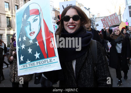 London, UK. 21st January, 2017. Demonstratorr at the anti Donalt Trump demonstration during the first day of his - Stock Photo