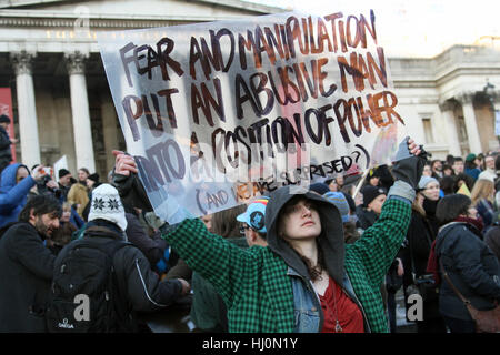 London, UK. 21st January, 2017. Demonstrator at the anti Donalt Trump demonstration during the first day of his - Stock Photo