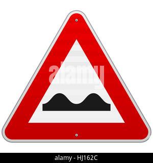sign, signal, traffic, transportation, triangle, warning, road, bump, street, - Stock Photo
