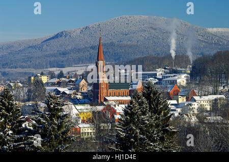 winter in the bavarian forest - zwiesel-falkenstein - Stock Photo