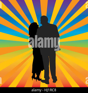 silhouette, embrace, love, in love, fell in love, hugging, couple, pair,