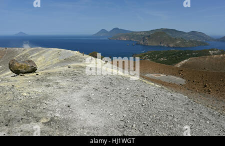View from the Gran Cratere on Vulcano of several of the other Aeolian Islands, including Lipari, Salina and Filicudi - Stock Photo