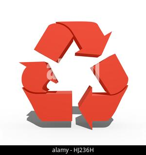 A 3d recycle symbol isolated against a white background - Stock Photo