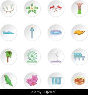 Singapore travel icons set - Stock Photo