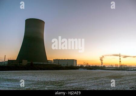 nuclear power plant sunset sunrise dawn Radiation of soil environment - Stock Photo