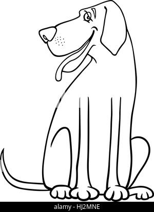 black and white cartoon illustration of funny great dane dog for coloring book or coloring page