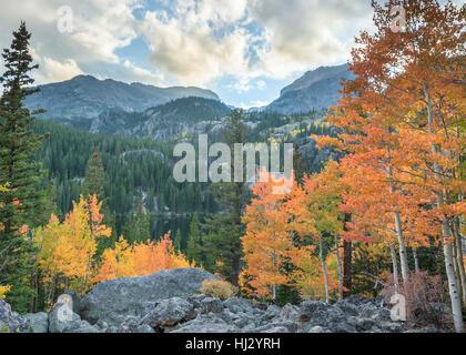 Autumn colors at Bear Lake, in Rocky Mountain National Park, near Estes Park, Colorado. - Stock Photo