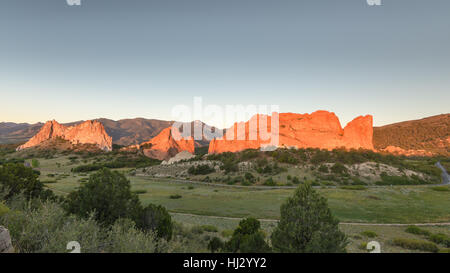 Dawn colors South Gateway, Signature, North Gateway, Kissing Camels, Tower of Babel (named rock formations) in Garden - Stock Photo