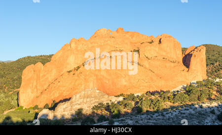 North Gateway, Kissing Camels, Tower of Babel (named rock formations) in Garden of the Gods, Colorado Springs, Colorado. - Stock Photo