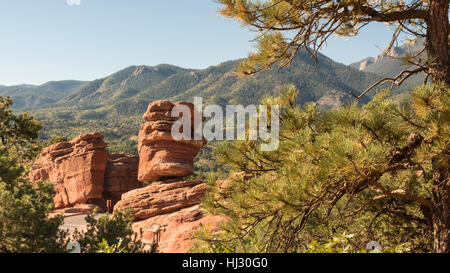 Steamboat Rock and Balanced Rock (named rock formations) in Garden of the Gods, Colorado Springs, Colorado. - Stock Photo
