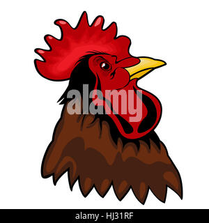 Mascot of a rooster's head against white. Vinyl-ready graphic. - Stock Photo