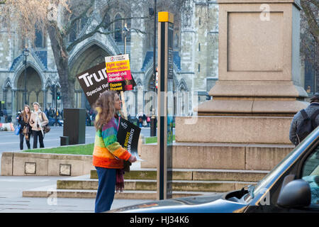 Demonstrators in London on January 21st, protesting against the inauguration  of Donald Trump as US President. - Stock Photo