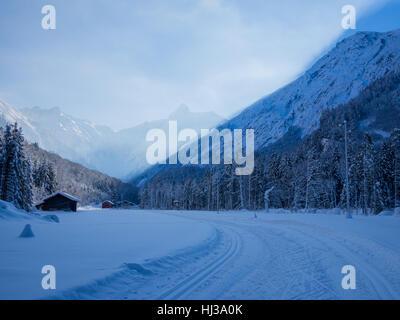 cross-country skiing in winter, Spielmannsau valley, Oberstdorf, Allgau, Germany - Stock Photo
