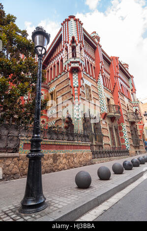 Barcelona - September 19, 2014: Casa Vicens is a modernist building in Barcelona, Catalonia, Spain, designed by - Stock Photo