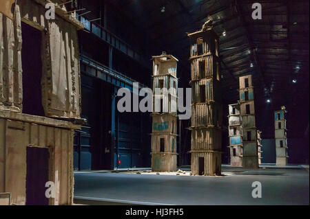 The installation Seven Heavenly Palaces  by Anselm Kiefer at the hangar Bicocca in Milan - Stock Photo