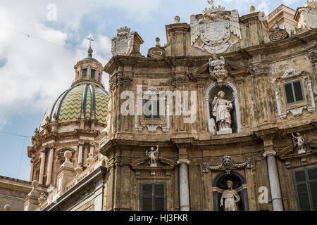 Quattro Canti, (Piazza Vigliena), Palermo, Sicily, - Stock Photo