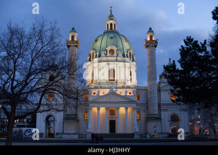 Karlskirche (St. Charles's Church) designed by Austrian Baroque architect Johann Bernhard Fischer von Erlach in - Stock Photo