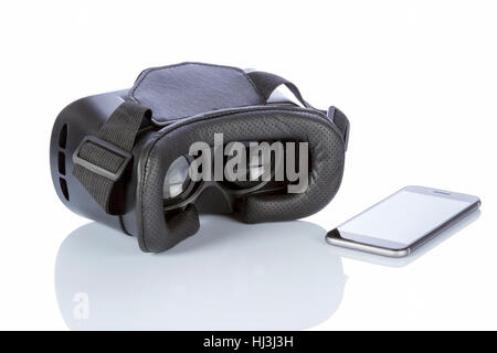 VR Glasses and smartphone with clipping path for screen isolated on white background. - Stock Photo