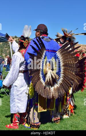 Navaho Native American Indians at Prescott Inter-tribal Pow Wow Arizona in traditional ceremonial costume