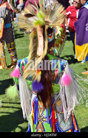 Navaho Native American Indian wearing traditional ceremonial costume at Prescott Inter-tribal Pow Wow Arizona - Stock Photo