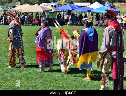 Native American Navaho Indians entering dance wearing traditional ceremonial costumes at Prescott Inter-tribal Pow - Stock Photo