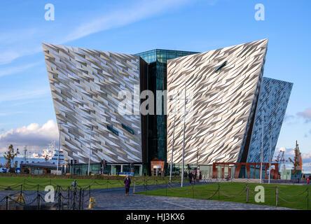 BELFAST, NORTHERN IRELAND, UK – OCTOBER 2, 2016: Titanic multimedia museum and visitors' information center in Belfast - Stock Photo