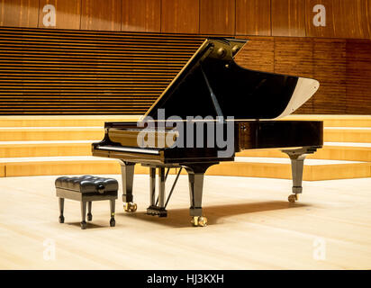 A grand piano on a wooden stage of a concert hall - Stock Photo
