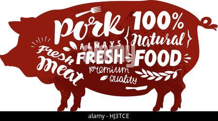 Pig symbol. Meat, pork vector illustration - Stock Photo