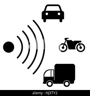 Speed road radar icon. Notice traffic symbol isolated on white with different types of vehicles. Truck, motorcycle, - Stock Photo