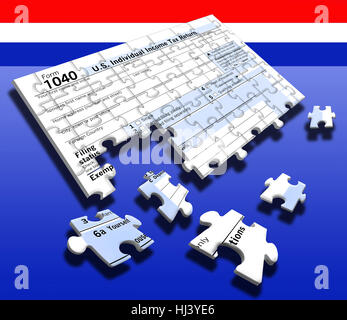 Federal individual income tax return 1040 has been turned into a puzzle to represent the annual task of preparing - Stock Photo