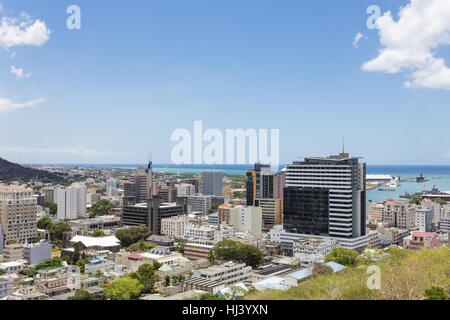 The city of Port Louis viewed from the fort Adelaide along the Indian Ocean in Mauritius capital city - Stock Photo