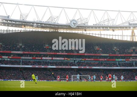 General view of the Emirates Stadium Clock End during the Premier League match between Arsenal and Burnley at the - Stock Photo