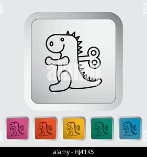 Dinosaurus toy thin line flat vector related icon set for web and mobile applications. It can be used as - pictogram, - Stock Photo