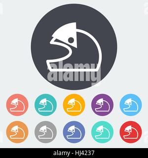 Motorcycle helmet. Single flat icon on the circle. Vector illustration. - Stock Photo