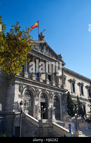 National Library of Madrid, Paseo de Recoletos, Spain. Europe,  architecture and art - Stock Photo