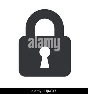 A padlock isolated against a white background - Stock Photo