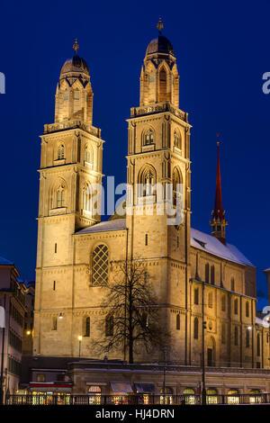 church, night photograph, lights, zurich, lighting, illumination, blue, tower, - Stock Photo