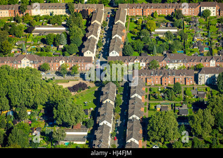 Jupp Colony, former miners settlement, historic workers' settlement, colliery houses, Duisburg-Hamborn, Duisburg, - Stock Photo