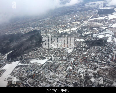 Kunraticky Forest and Kunratice District in Prague, Czech Republic. Aerial view pictured from the aircraft. Kunraticky - Stock Photo