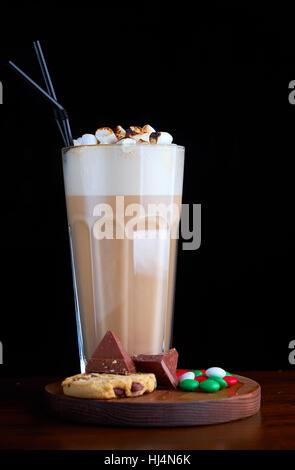 Iced coffee with chocolate ice cream - Stock Photo